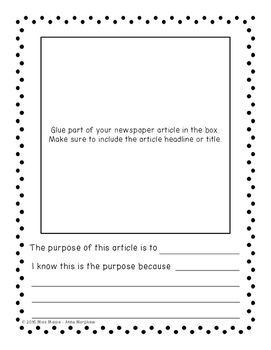 Newspaper Pie: An Author's Purpose Activity