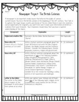 Newspaper Project: Life in the 13 Colonies - Writing in Social Studies!