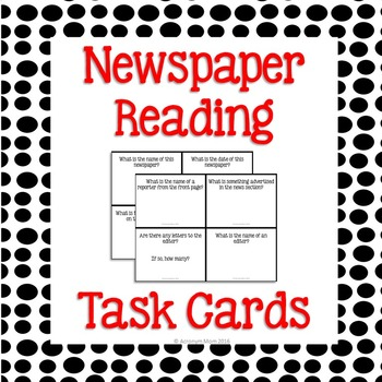 Newspaper Reading Task Cards