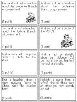 Newspaper Scavenger Hunt Activity (Task Cards)