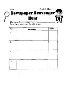 Newspaper Scavenger Hunt Literacy Center