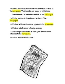 Newspaper Scavenger Hunt Poster Project