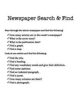 Newspaper Search and Find