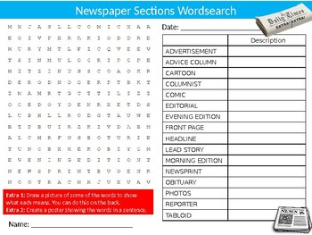 Newspaper Sections Wordsearch Puzzle Sheet Keywords English Journalism