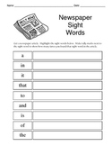 Sight Word Recognition Activity using the Newspaper / Fun Literacy Center Idea!