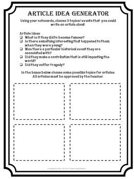 Newspaper Social Studies Project Editable