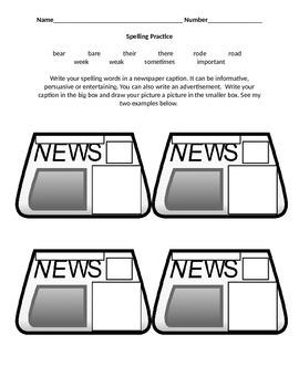 Newspaper Spelling Homework