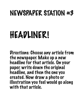 Newspaper Station Activity