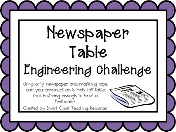 Newspaper Table: Engineering Challenge Project ~ Great STEM Activity!