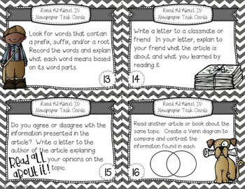 Newspaper Task Cards for Literacy Stations (CCSS aligned)