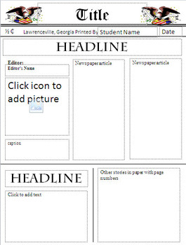 newspaper template teaching resources teachers pay teachers
