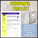 Newspaper Template for School Newspaper / Newspaper Club