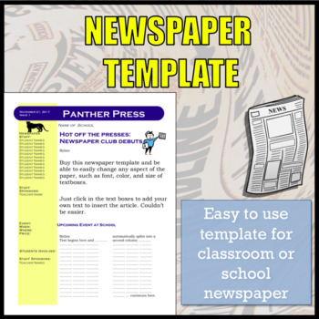 Newspaper Template Editable Teaching Resources  Teachers Pay Teachers