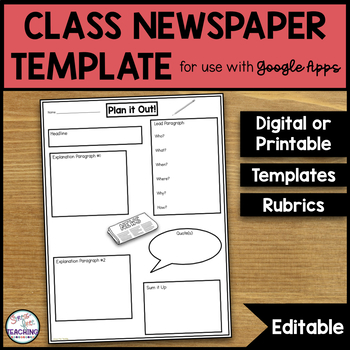 photograph regarding Printable Newspaper Templates named Cl Newspaper Template Worksheets Schooling Elements TpT