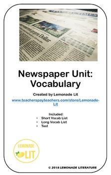 Newspaper Unit: Vocabulary
