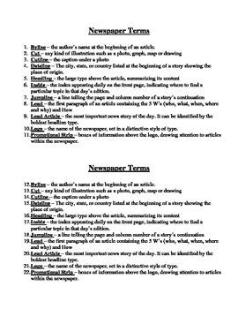 Newspaper Unit vocabulary and quiz