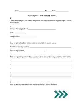 Newspaper Worksheet by Teresa Marquart | Teachers Pay Teachers