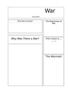 Newspaper Worksheet Template for a War