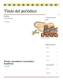 Newspaper template for a Spanish class paper