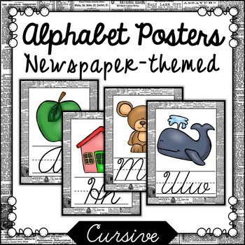 Newspaper Themed Cursive Alphabet Posters