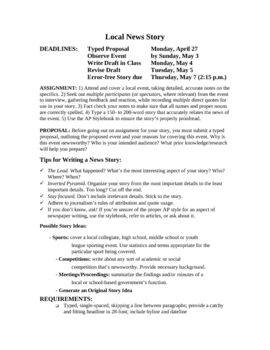 Newspaper/Journalism: Local News Story Unit with Examples
