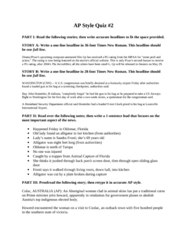 Newspaper/Journalism: News Writing Quiz 2 (Leads, Headlines, Editing)