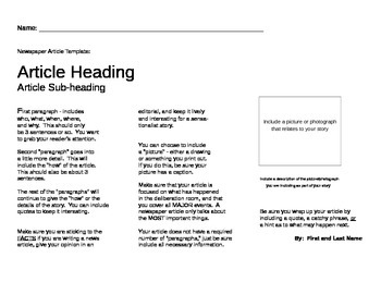 Newspaper/Magazine article template