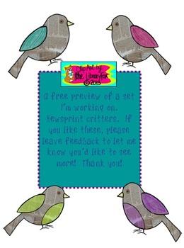 Newsprint Birds A Freebie mini set