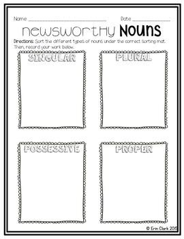 Newsworthy Nouns! {Sorting Singular, Plural, Possessive & Proper Nouns}
