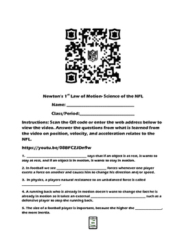 Newton's 1st Law of Motion-Science of the NFL QR Code Video Worksheet