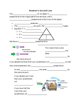 Newton's 2nd Law Guided Notes
