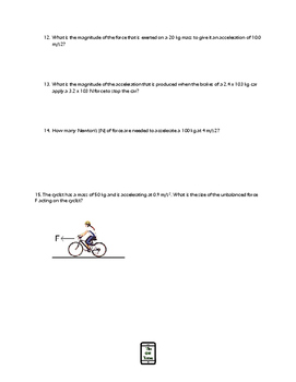 Newton's 2nd Law and Forces QR Code Worksheet #2