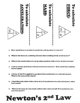 Newton's 2nd law practice foldable worksheet for interactive notebook