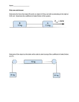 Newton's 3 Laws Quiz