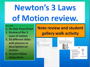 Newton's 3 laws of motion review and gallery walk.