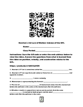 Newton's 3rd Law of Motion-Science of the NFL video worksheet
