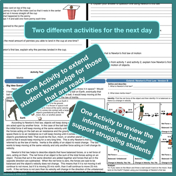 Newton's First Law Flipped Lesson (Includes the next days differentiated lesson)