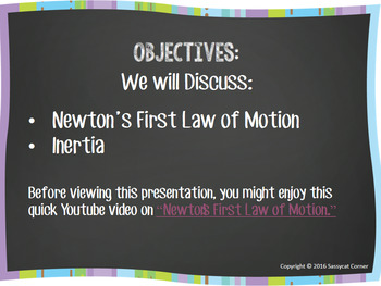 Newton's First Law Powerpoint with editable text