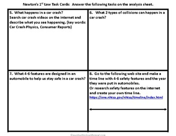 Newton's First Law and Car Safety TASK CARDS With Power Point