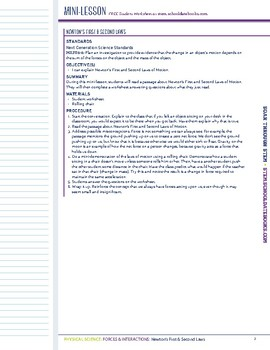 Newton's First & Second Laws - STEM Lesson Plan With Journal Page
