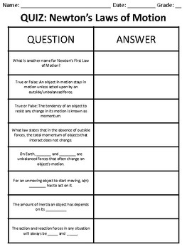 Newton's Law's Quiz