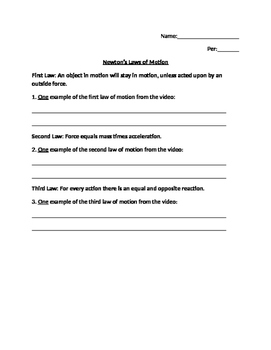 Newton's Laws Basic Worksheet
