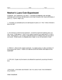 Newton's Laws Coin Experiment Lab w/ Answer Key (Fun Learn