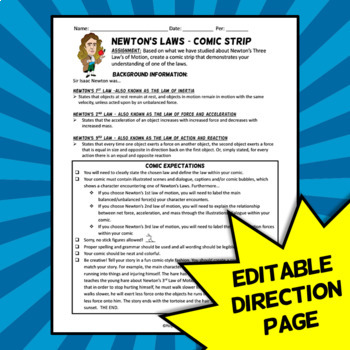 Newton's Laws Project - Comic Strip Activity