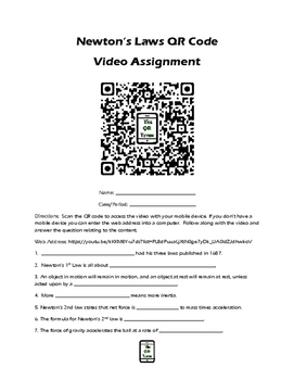 Newton's Laws Crash Course Physics QR Code Video Worksheet