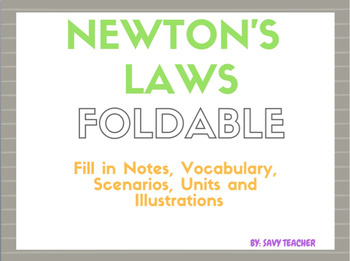 Newton's Laws Foldable - Common Core Aligned with Vocabulary, Calculating Work