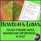 Newton's Laws Folded Pyramid Notes and Quiz