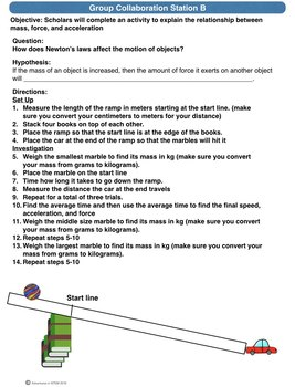 Newton's Laws Science Stations (online, group collaboration, teacher-led)