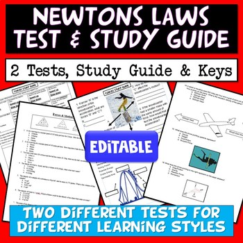 Newton's Laws Test and Study Guide (Editable)
