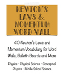 Newton's Laws and Momentum Word Wall- Physics and Physical Science